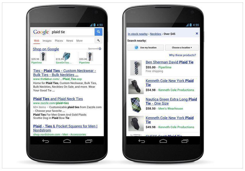 ejemplo de google shopping moviles