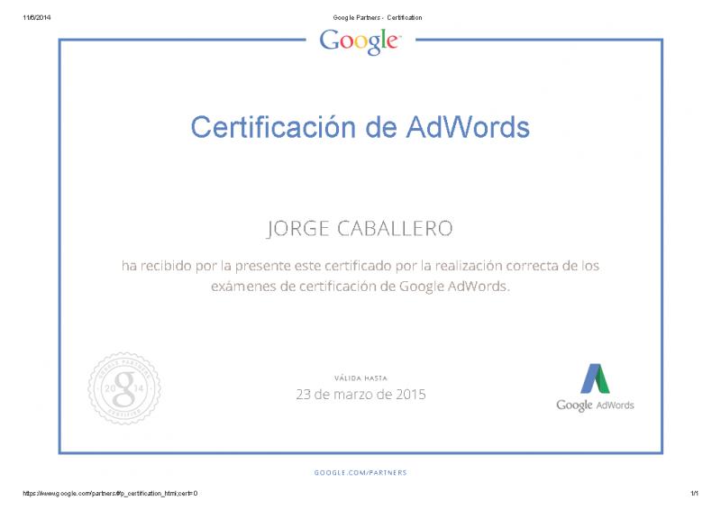 Certificacion google partners - Jorge Caballero