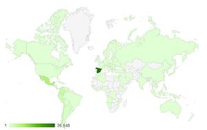 Analítica web - ejemplo de visitas por países